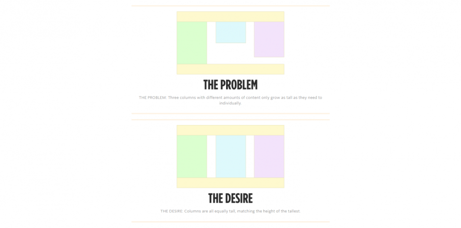 Using CSS to equal height columns without javascript
