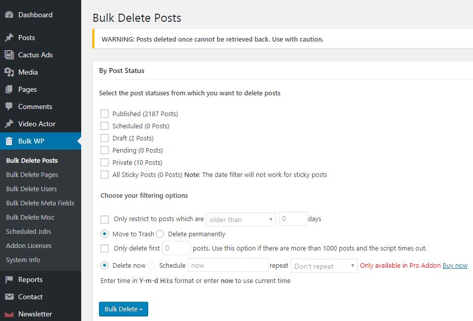 how to delete timeline posts in bulk