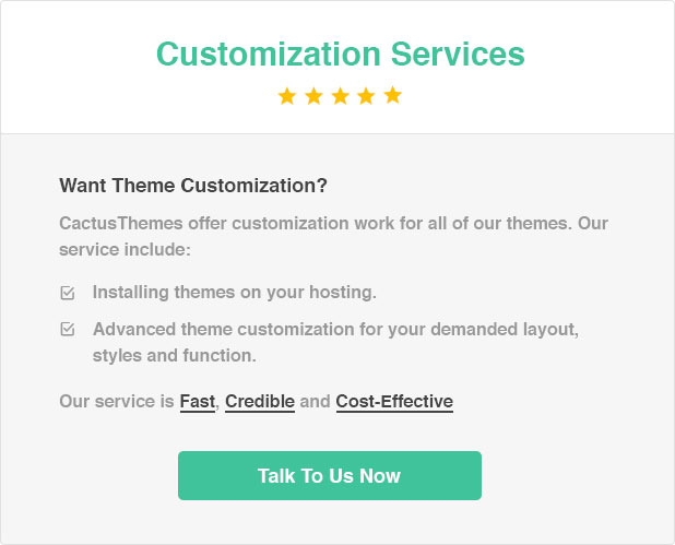 Cactusthemes customization service banner